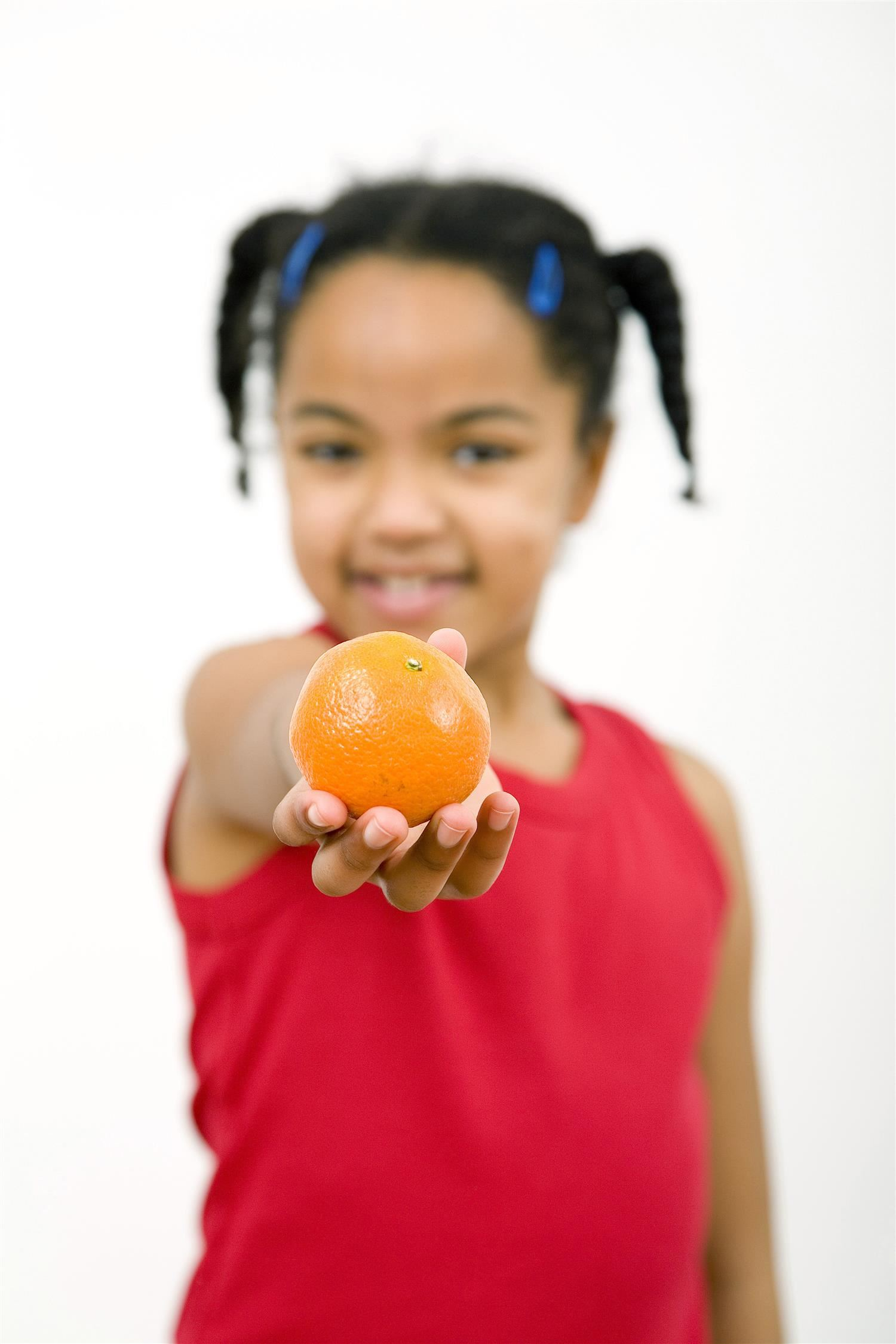 girl with an orange